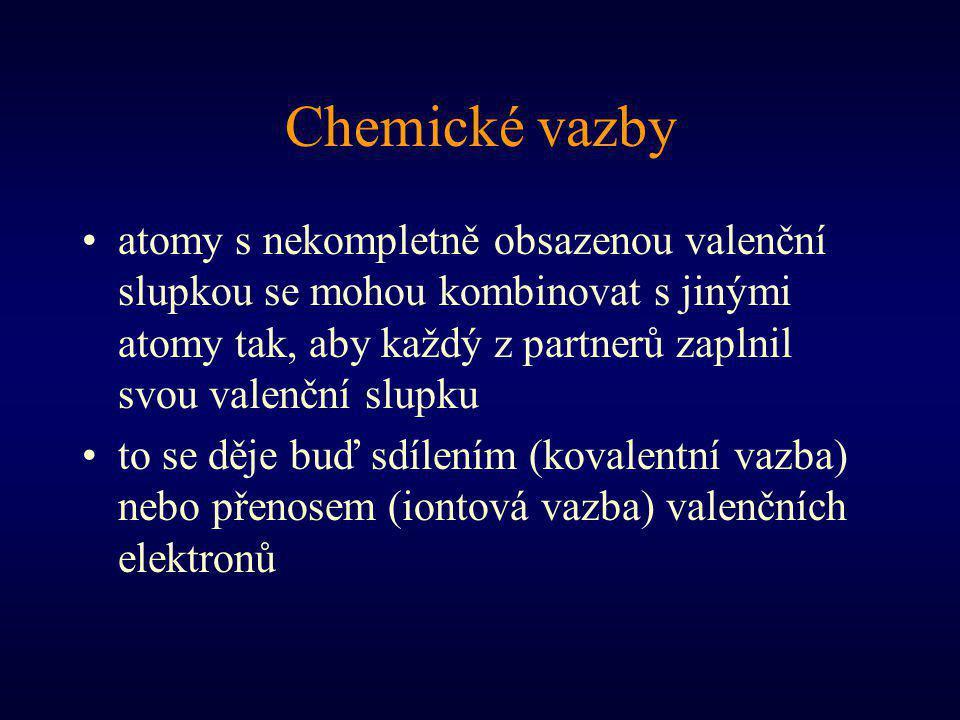 Chemické vazby atomy s nekompletně obsazenou valenční slupkou se mohou kombinovat s jinými atomy tak, aby každý z partnerů zaplnil svou valenční slupku to se děje buď sdílením (kovalentní vazba) nebo přenosem (iontová vazba) valenčních elektronů