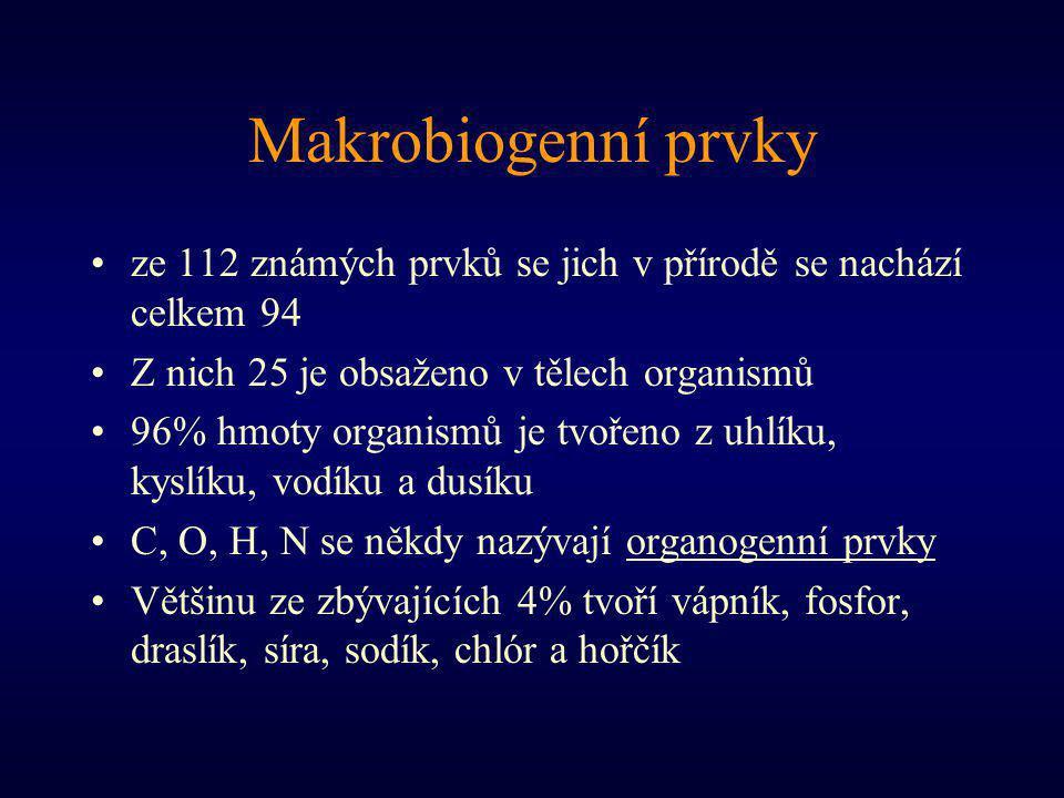 Makrobiogenní prvky ze 112 známých prvků se jich v přírodě se nachází celkem 94 Z nich 25 je obsaženo v tělech organismů 96% hmoty organismů je tvořeno z uhlíku, kyslíku, vodíku a dusíku C, O, H, N se někdy nazývají organogenní prvky Většinu ze zbývajících 4% tvoří vápník, fosfor, draslík, síra, sodík, chlór a hořčík