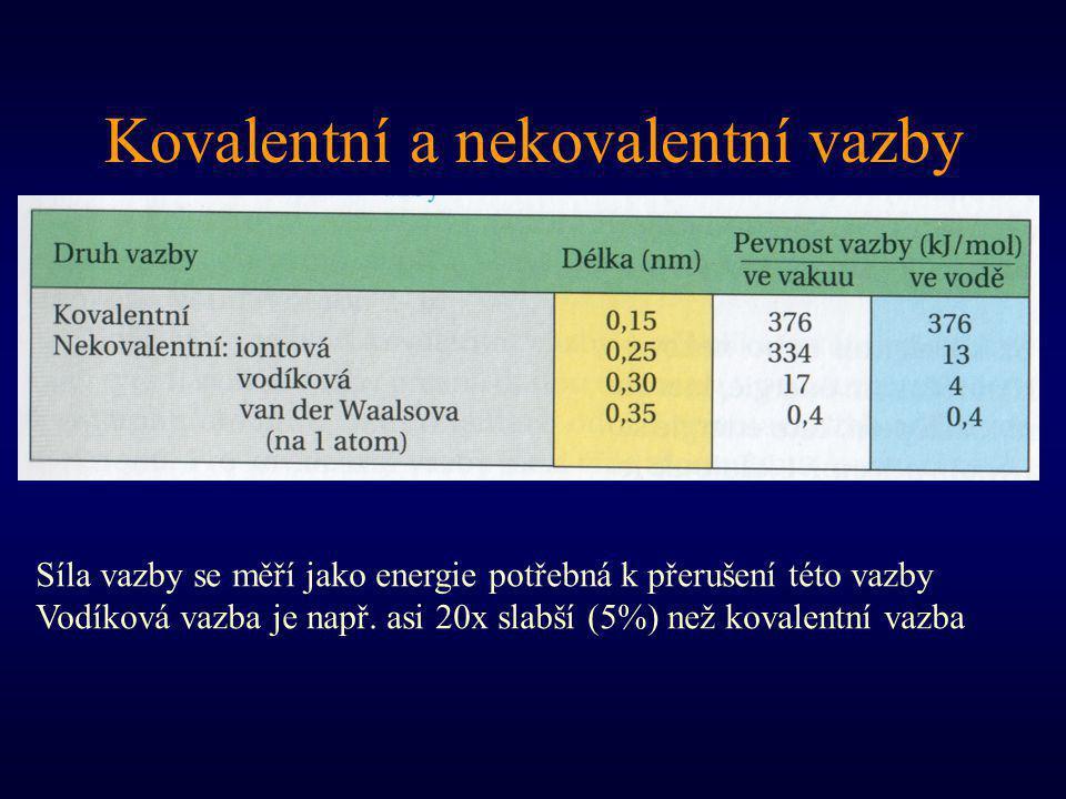 Kovalentní a nekovalentní vazby Síla vazby se měří jako energie potřebná k přerušení této vazby Vodíková vazba je např. asi 20x slabší (5%) než kovale