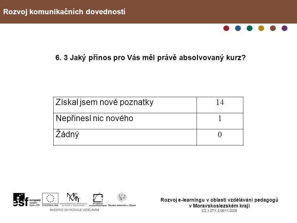 Rozvoj komunikačních dovedností Rozvoj e-learningu v oblasti vzdělávání pedagogů v Moravskoslezském kraji CZ.1.07/1.3.05/11.0008 6. 3 Jaký přínos pro