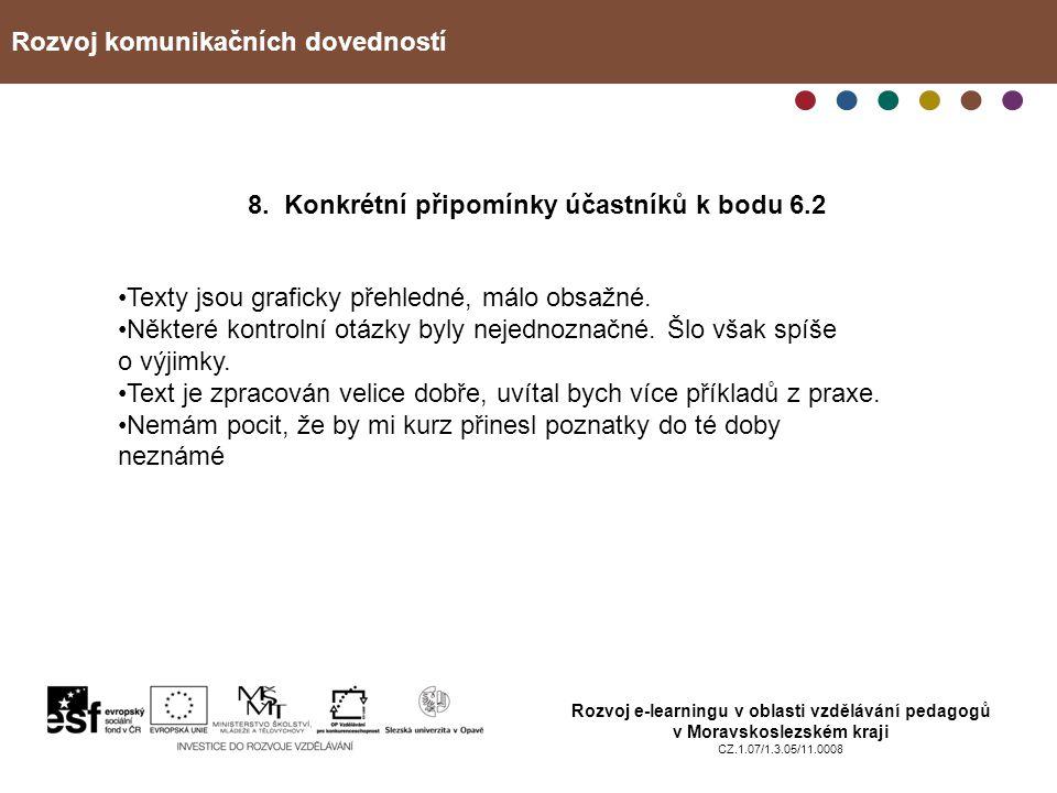 Rozvoj komunikačních dovedností Rozvoj e-learningu v oblasti vzdělávání pedagogů v Moravskoslezském kraji CZ.1.07/1.3.05/11.0008 8. Konkrétní připomín