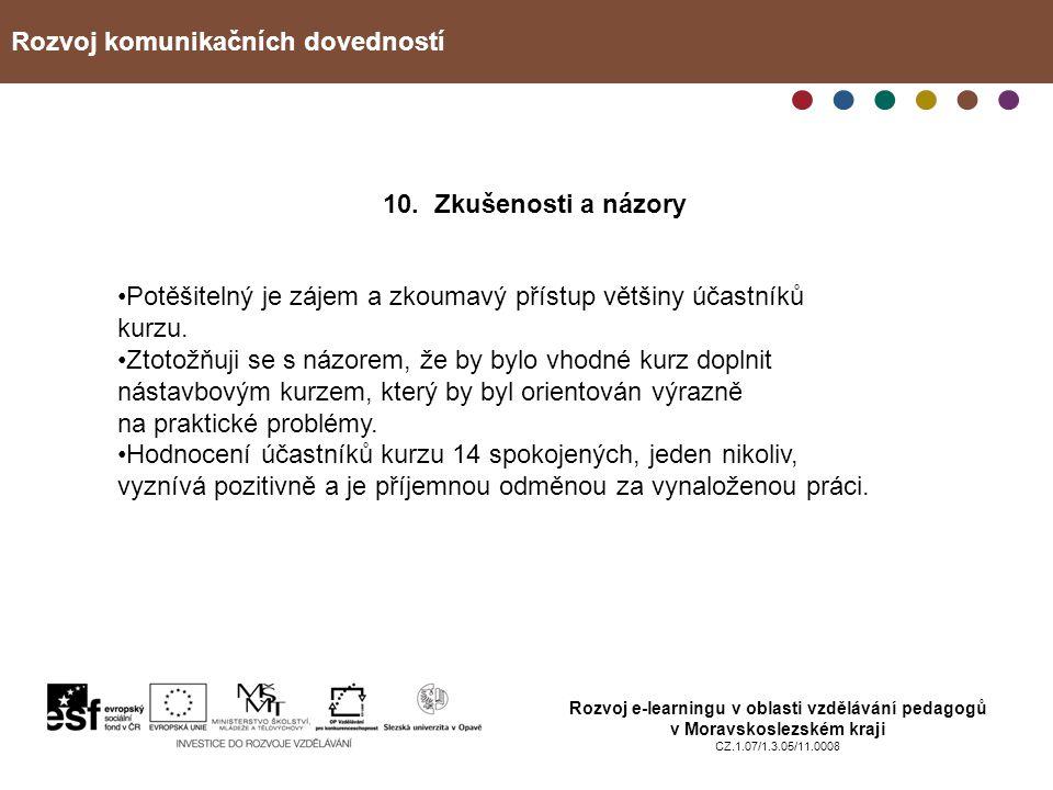Rozvoj komunikačních dovedností Rozvoj e-learningu v oblasti vzdělávání pedagogů v Moravskoslezském kraji CZ.1.07/1.3.05/11.0008 10. Zkušenosti a názo