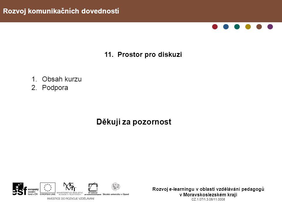 Rozvoj komunikačních dovedností Rozvoj e-learningu v oblasti vzdělávání pedagogů v Moravskoslezském kraji CZ.1.07/1.3.05/11.0008 11. Prostor pro disku