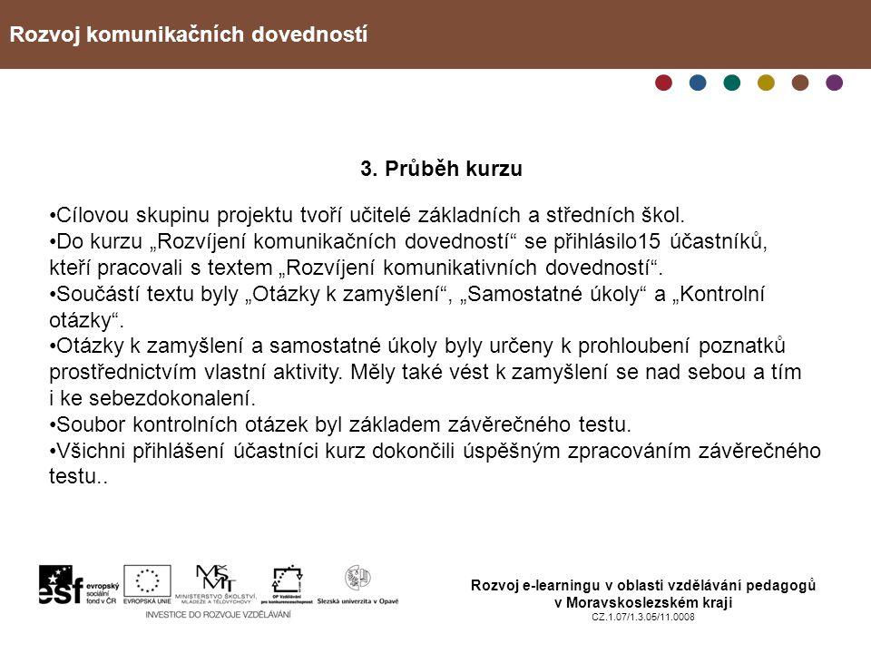 Rozvoj komunikačních dovedností Rozvoj e-learningu v oblasti vzdělávání pedagogů v Moravskoslezském kraji CZ.1.07/1.3.05/11.0008 3. Průběh kurzu Cílov