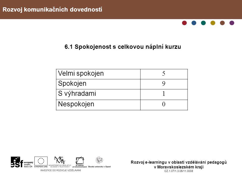 Rozvoj komunikačních dovedností Rozvoj e-learningu v oblasti vzdělávání pedagogů v Moravskoslezském kraji CZ.1.07/1.3.05/11.0008 6.1 Spokojenost s cel