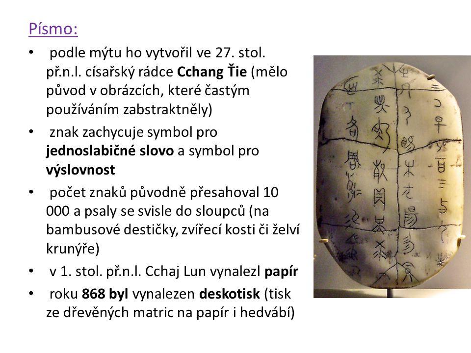 Písmo: podle mýtu ho vytvořil ve 27. stol. př.n.l. císařský rádce Cchang Ťie (mělo původ v obrázcích, které častým používáním zabstraktněly) znak zach