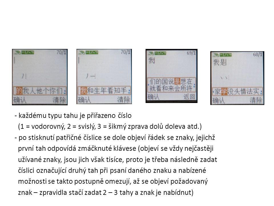 PSANÍ SMS V ČÍNŠTINĚ – 2 MOŽNOSTI: 1) podle grafické podoby znaků: - každému typu tahu je přiřazeno číslo (1 = vodorovný, 2 = svislý, 3 = šikmý zprava