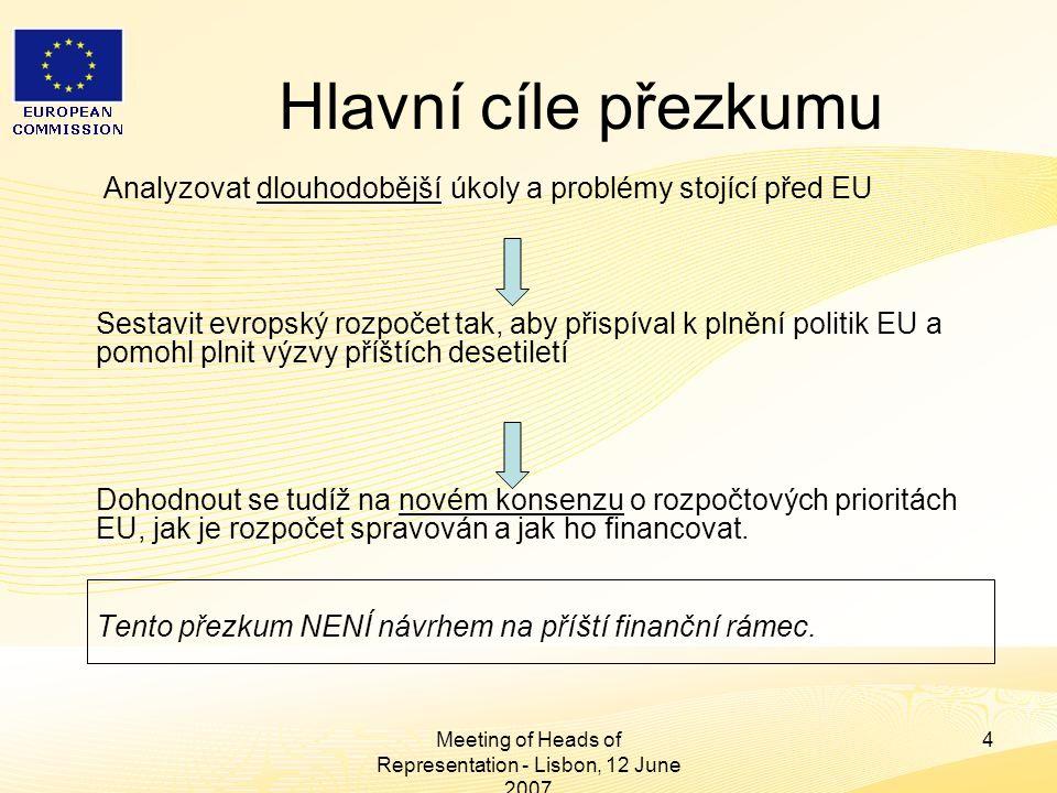 Heads of Representation, Lisbon 12 June 2007 Meeting of Heads of Representation - Lisbon, 12 June 2007 4 Hlavní cíle přezkumu Analyzovat dlouhodobější úkoly a problémy stojící před EU Sestavit evropský rozpočet tak, aby přispíval k plnění politik EU a pomohl plnit výzvy příštích desetiletí Dohodnout se tudíž na novém konsenzu o rozpočtových prioritách EU, jak je rozpočet spravován a jak ho financovat.