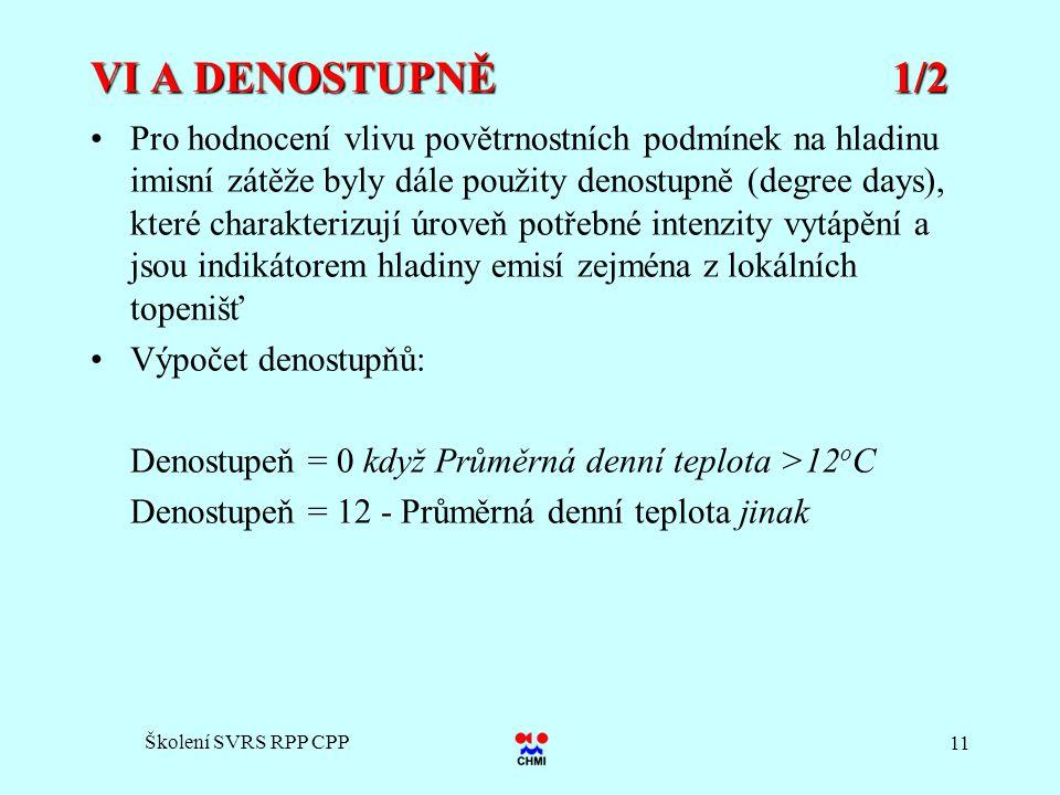 Školení SVRS RPP CPP 11 VI A DENOSTUPNĚ 1/2 Pro hodnocení vlivu povětrnostních podmínek na hladinu imisní zátěže byly dále použity denostupně (degree