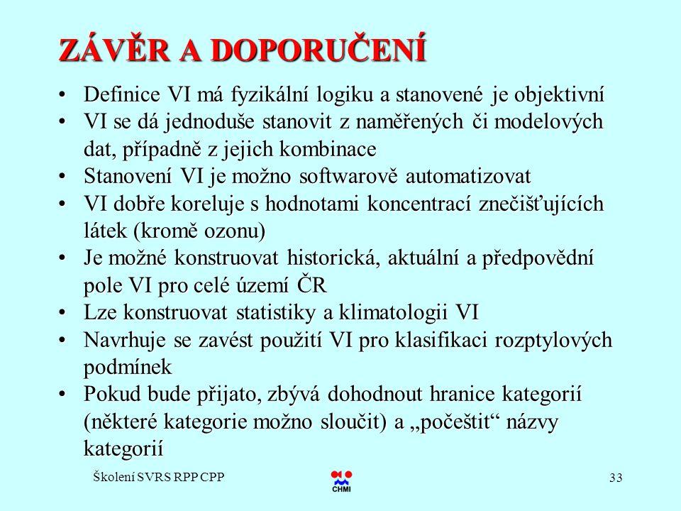 Školení SVRS RPP CPP 33 ZÁVĚR A DOPORUČENÍ Definice VI má fyzikální logiku a stanovené je objektivníDefinice VI má fyzikální logiku a stanovené je obj
