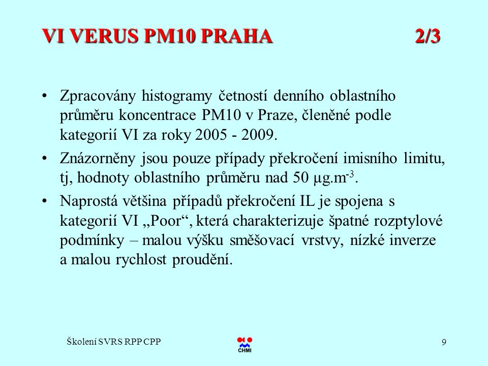Školení SVRS RPP CPP 9 VI VERUS PM10 PRAHA 2/3 Zpracovány histogramy četností denního oblastního průměru koncentrace PM10 v Praze, členěné podle kateg
