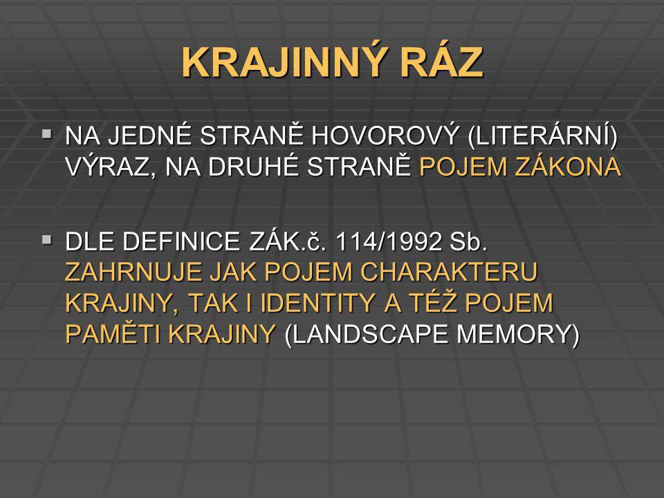 KRITÉRIA ÚNOSNOSTI (VOREL 2007) I.VÝRAZNOST A ČITELNOST KRAJINNÉHO RÁZU II.