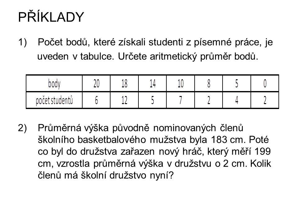 PŘÍKLADY 1)Počet bodů, které získali studenti z písemné práce, je uveden v tabulce. Určete aritmetický průměr bodů. 2) Průměrná výška původně nominova
