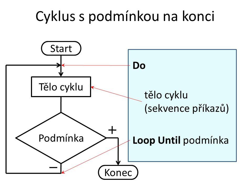 Cyklus s podmínkou na konci Start Tělo cyklu Podmínka Konec Do Loop Until podmínka tělo cyklu (sekvence příkazů)