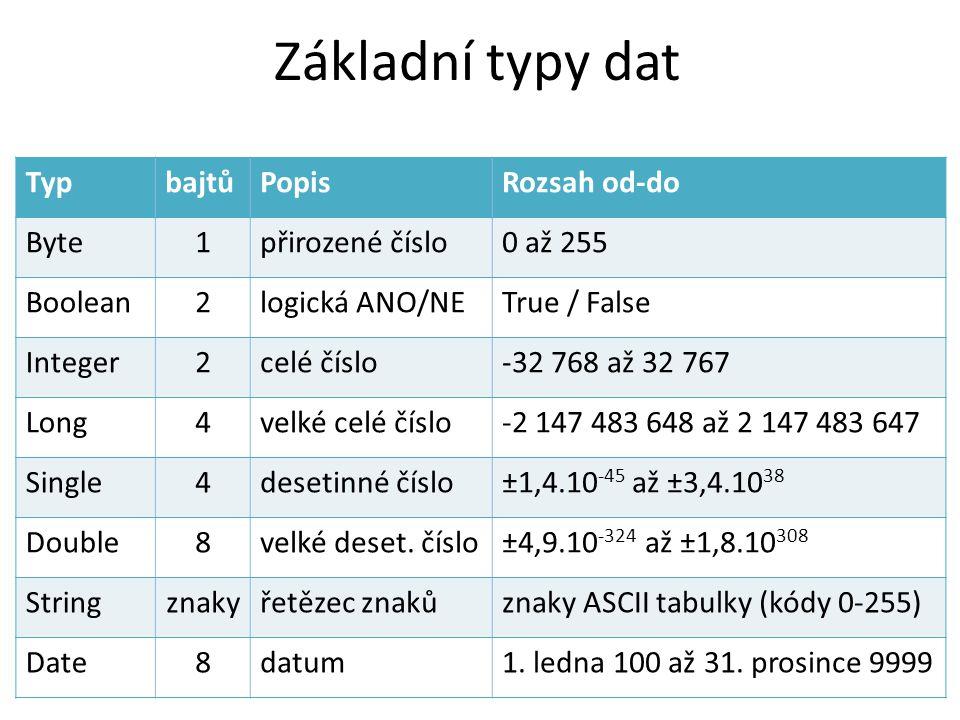Základní typy dat TypbajtůPopisRozsah od-do Byte1přirozené číslo0 až 255 Boolean2logická ANO/NETrue / False Integer2celé číslo-32 768 až 32 767 Long4v
