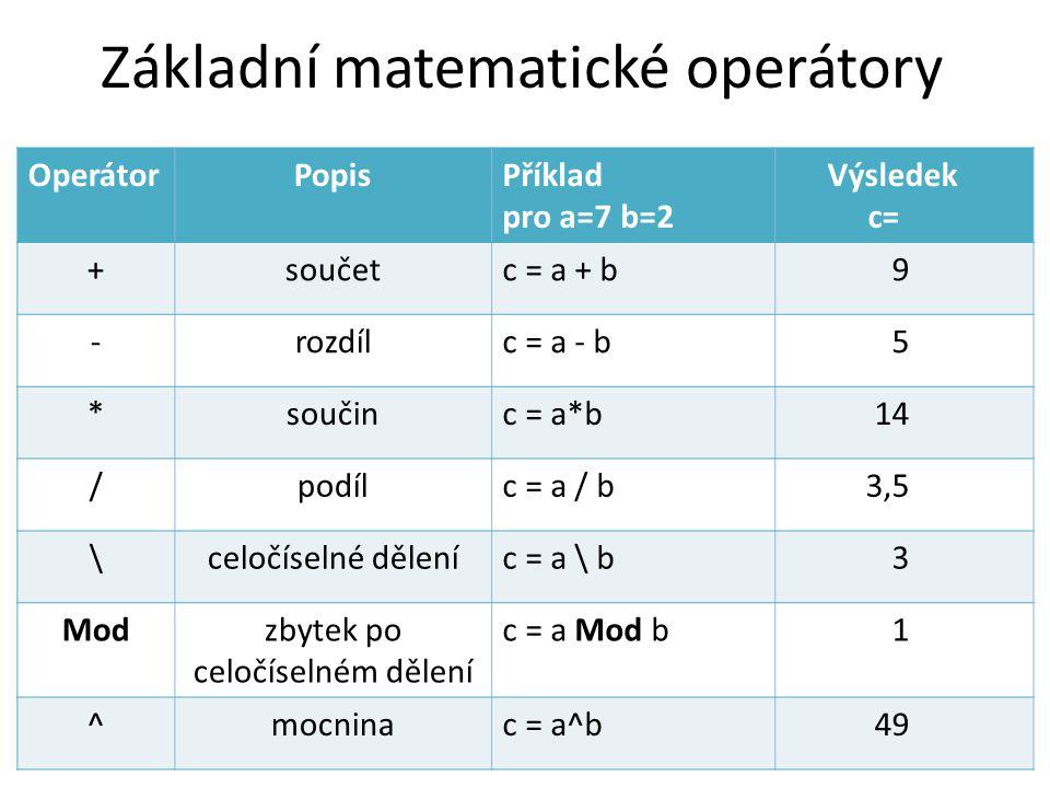 Základní matematické operátory OperátorPopisPříklad pro a=7 b=2 Výsledek c= +součetc = a + b9 -rozdílc = a - b5 *součinc = a*b14 /podílc = a / b3,5 \c