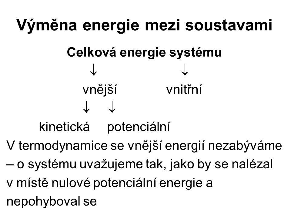 Výměna energie mezi soustavami Celková energie systému  vnější vnitřní   kinetická potenciální V termodynamice se vnější energií nezabýváme – o sy
