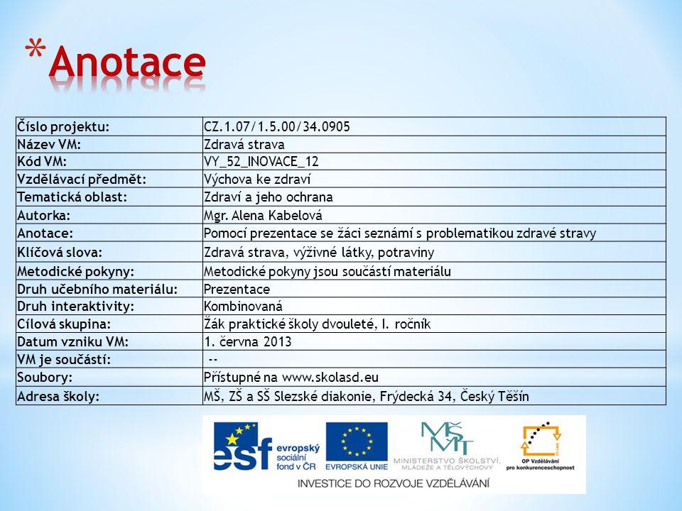 Číslo projektu:CZ.1.07/1.5.00/34.0905 Název VM:Zdravá strava Kód VM:VY_52_INOVACE_12 Vzdělávací předmět:Výchova ke zdraví Tematická oblast:Zdraví a jeho ochrana Autorka:Mgr.