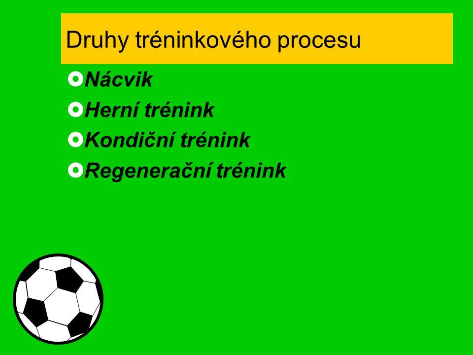 Druhy tréninkového procesu  Nácvik  Herní trénink  Kondiční trénink  Regenerační trénink