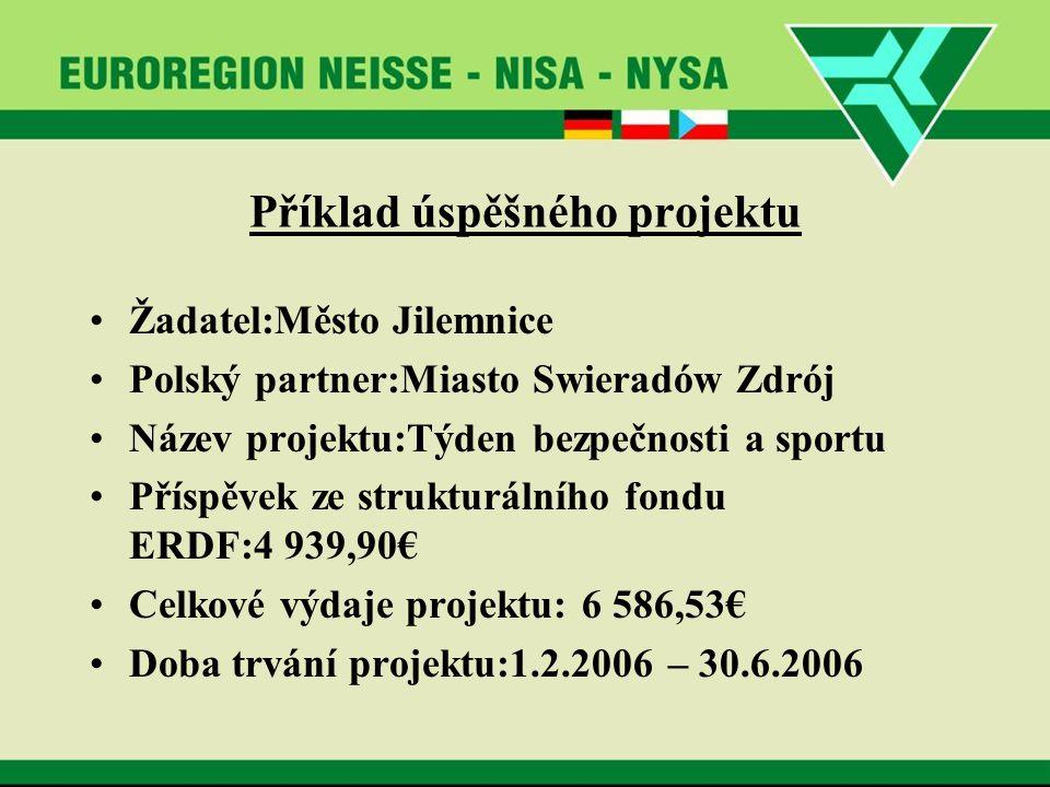 Příklad úspěšného projektu Žadatel:Město Jilemnice Polský partner:Miasto Swieradów Zdrój Název projektu:Týden bezpečnosti a sportu Příspěvek ze strukturálního fondu ERDF:4 939,90€ Celkové výdaje projektu: 6 586,53€ Doba trvání projektu:1.2.2006 – 30.6.2006