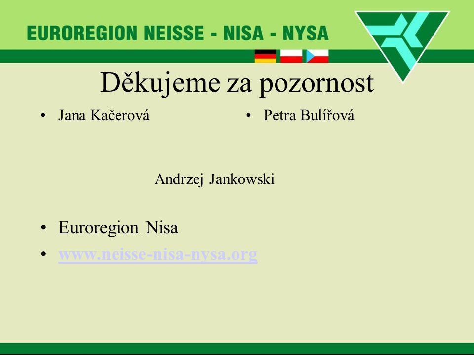 Děkujeme za pozornost Jana KačerováPetra Bulířová Euroregion Nisa www.neisse-nisa-nysa.org Andrzej Jankowski