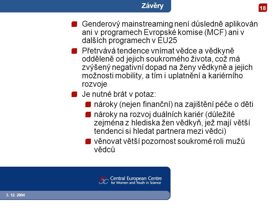3. 12. 2004 18 Závěry Genderový mainstreaming není důsledně aplikován ani v programech Evropské komise (MCF) ani v dalších programech v EU25 Přetrvává