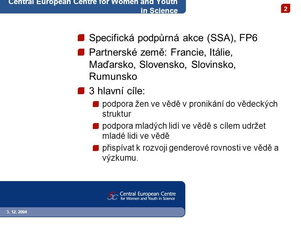 3. 12. 2004 2 Central European Centre for Women and Youth in Science Specifická podpůrná akce (SSA), FP6 Partnerské země: Francie, Itálie, Maďarsko, S