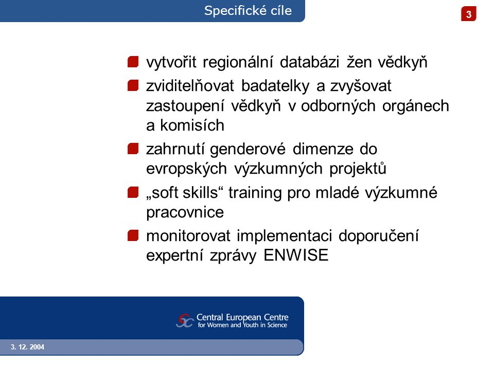 3. 12. 2004 3 Specifické cíle vytvořit regionální databázi žen vědkyň zviditelňovat badatelky a zvyšovat zastoupení vědkyň v odborných orgánech a komi