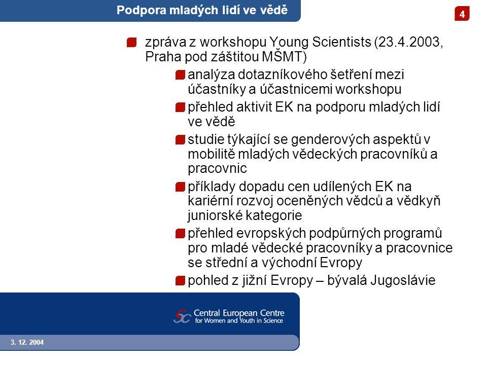 3. 12. 2004 4 Podpora mladých lidí ve vědě zpráva z workshopu Young Scientists (23.4.2003, Praha pod záštitou MŠMT) analýza dotazníkového šetření mezi