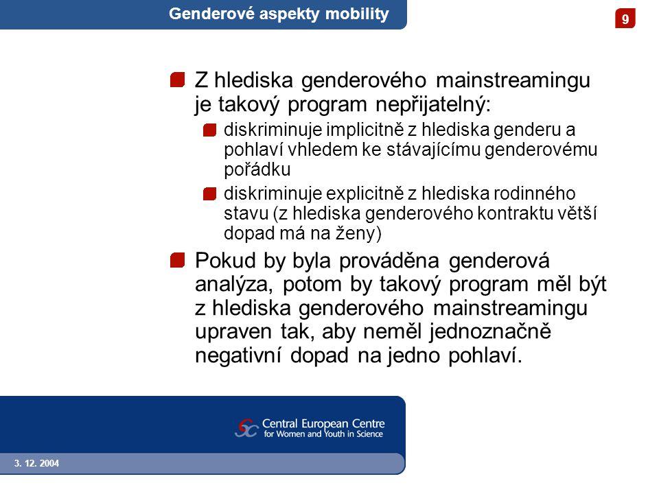 3. 12. 2004 9 Genderové aspekty mobility Z hlediska genderového mainstreamingu je takový program nepřijatelný: diskriminuje implicitně z hlediska gend