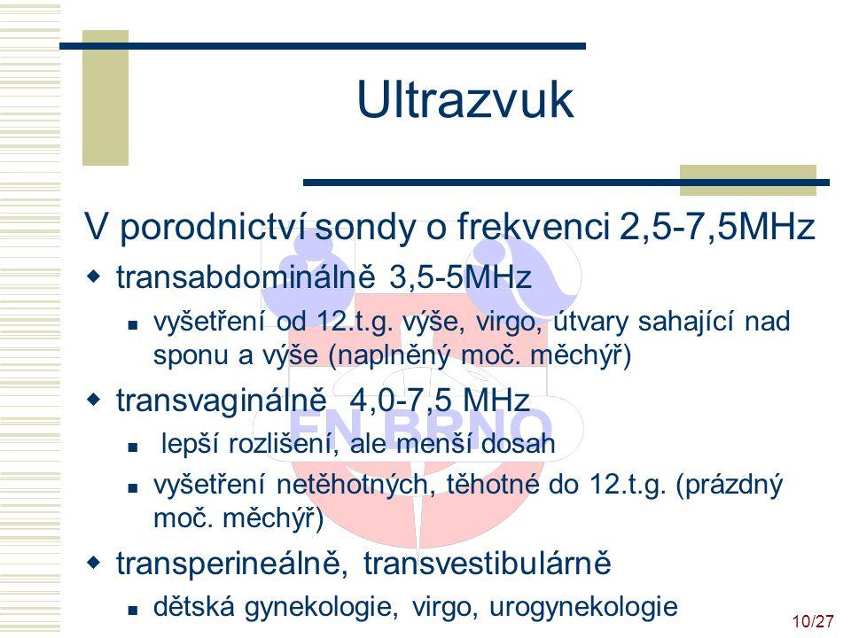 11/27 Ultrazvuk Gynekologické UZ vyšetření Zobrazení vnitřních rodidel děloha velikost, uložení, myomy, sliznice-výška, polypy vaječníky velikost, folikuly, cysty, ovulace, inflamatorní adnextumor, nádory okolí děložní GEU, tekutina v CD, tumory UZ vyšetření prsů