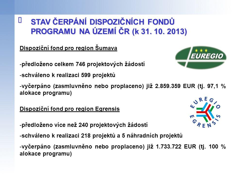 STAV ČERPÁNÍ DISPOZIČNÍCH FONDŮ PROGRAMU NA ÚZEMÍ ČR (k 31. 10. 2013)  Dispoziční fond pro region Šumava -předloženo celkem 746 projektových žádostí