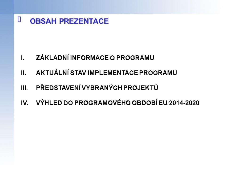 I.ZÁKLADNÍ INFORMACE O PROGRAMU II.AKTUÁLNÍ STAV IMPLEMENTACE PROGRAMU III.PŘEDSTAVENÍ VYBRANÝCH PROJEKTŮ IV.VÝHLED DO PROGRAMOVÉHO OBDOBÍ EU 2014-202