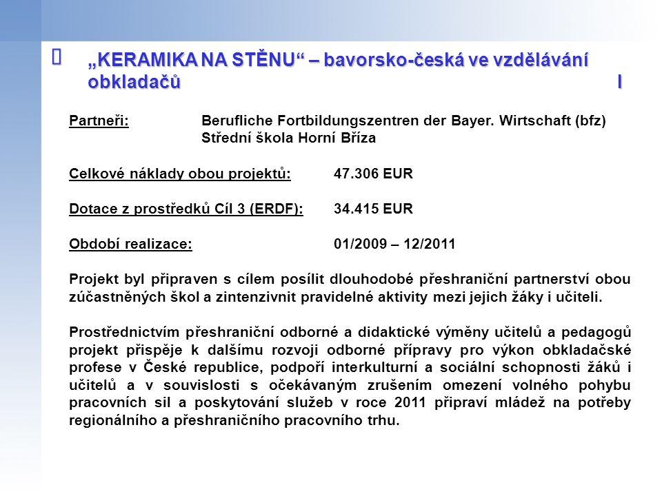 Partneři: Berufliche Fortbildungszentren der Bayer. Wirtschaft (bfz) Střední škola Horní Bříza Celkové náklady obou projektů:47.306 EUR Dotace z prost