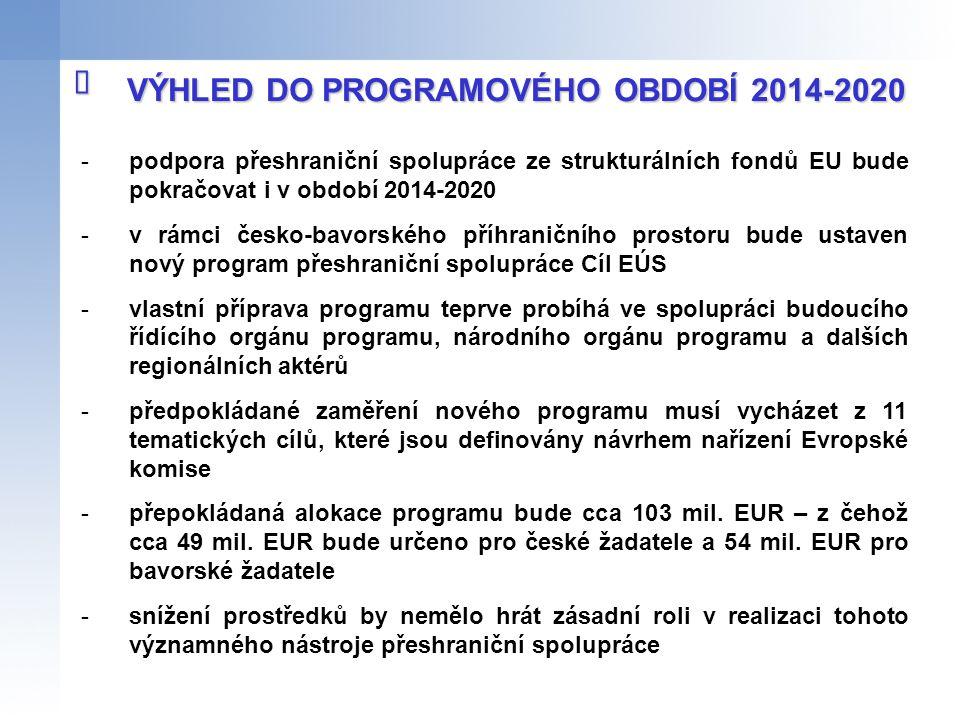 -podpora přeshraniční spolupráce ze strukturálních fondů EU bude pokračovat i v období 2014-2020 -v rámci česko-bavorského příhraničního prostoru bude