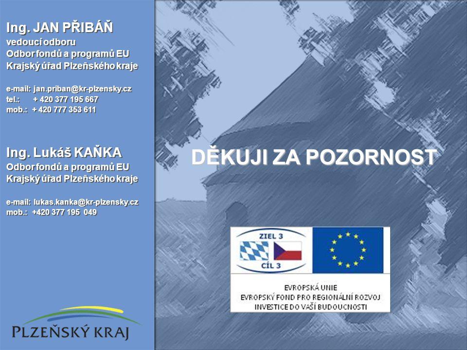 Ing. JAN PŘIBÁŇ vedoucí odboru Odbor fondů a programů EU Krajský úřad Plzeňského kraje e-mail: jan.priban@kr-plzensky.cz tel.: + 420 377 195 667 mob.: