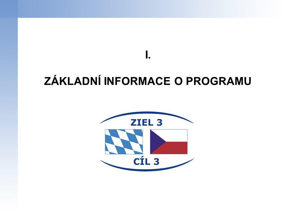 """Strategický cíl programu: """"Rozvoj česko-bavorského příhraničí jako společného a perspektivního, přírodního a hospodářského prostoru, posílení konkurenceschopnosti česko-bavorské příhraniční oblasti a zlepšení udržitelnosti životních podmínek pro její obyvatele. Specifické cíle programu: Zajištění trvale udržitelného hospodářského a sociálního rozvoje česko- bavorské příhraniční oblasti Vytvoření základních předpokladů trvale udržitelného rozvoje česko- bavorské příhraniční oblasti CÍL PROGRAMU """
