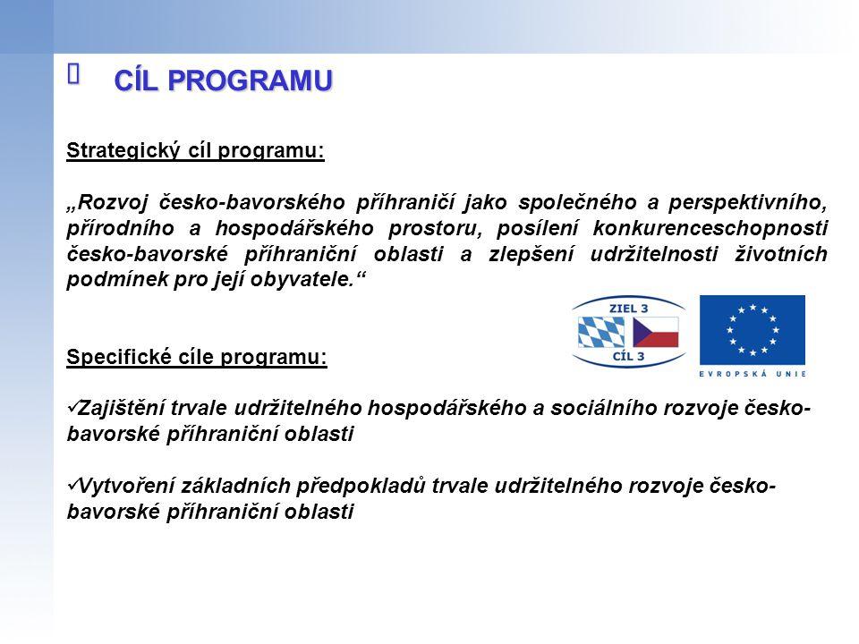 """Strategický cíl programu: """"Rozvoj česko-bavorského příhraničí jako společného a perspektivního, přírodního a hospodářského prostoru, posílení konkuren"""