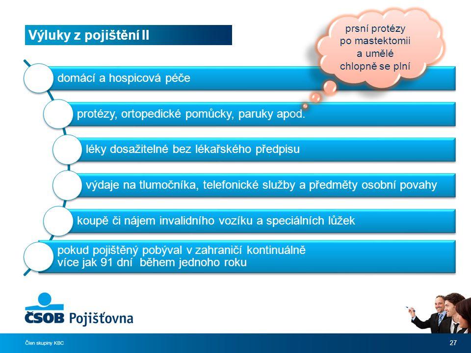 Výluky z pojištění II 27 domácí a hospicová péče protézy, ortopedické pomůcky, paruky apod.