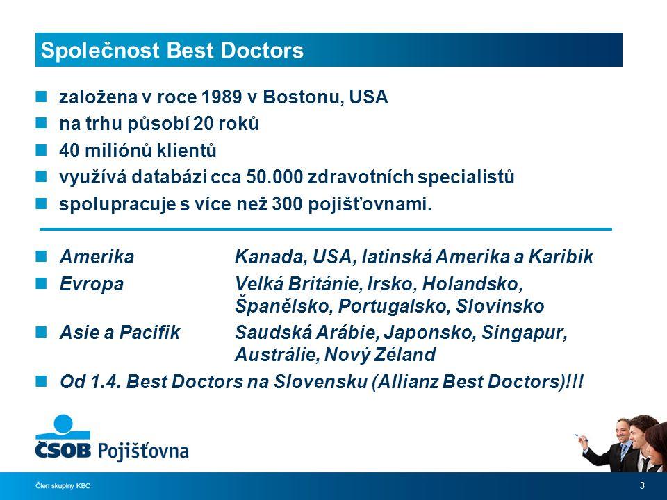 Společnost Best Doctors založena v roce 1989 v Bostonu, USA na trhu působí 20 roků 40 miliónů klientů využívá databázi cca 50.000 zdravotních specialistů spolupracuje s více než 300 pojišťovnami.