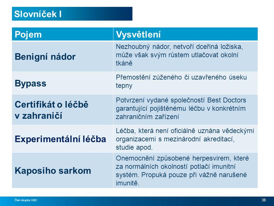 Slovníček I 38 PojemVysvětlení Benigní nádor Nezhoubný nádor, netvoří dceřiná ložiska, může však svým růstem utlačovat okolní tkáně Bypass Přemostění zúženého či uzavřeného úseku tepny Certifikát o léčbě v zahraničí Potvrzení vydané společností Best Doctors garantující pojištěnému léčbu v konkrétním zahraničním zařízení Experimentální léčba Léčba, která není oficiálně uznána vědeckými organizacemi s mezinárodní akreditací, studie apod.