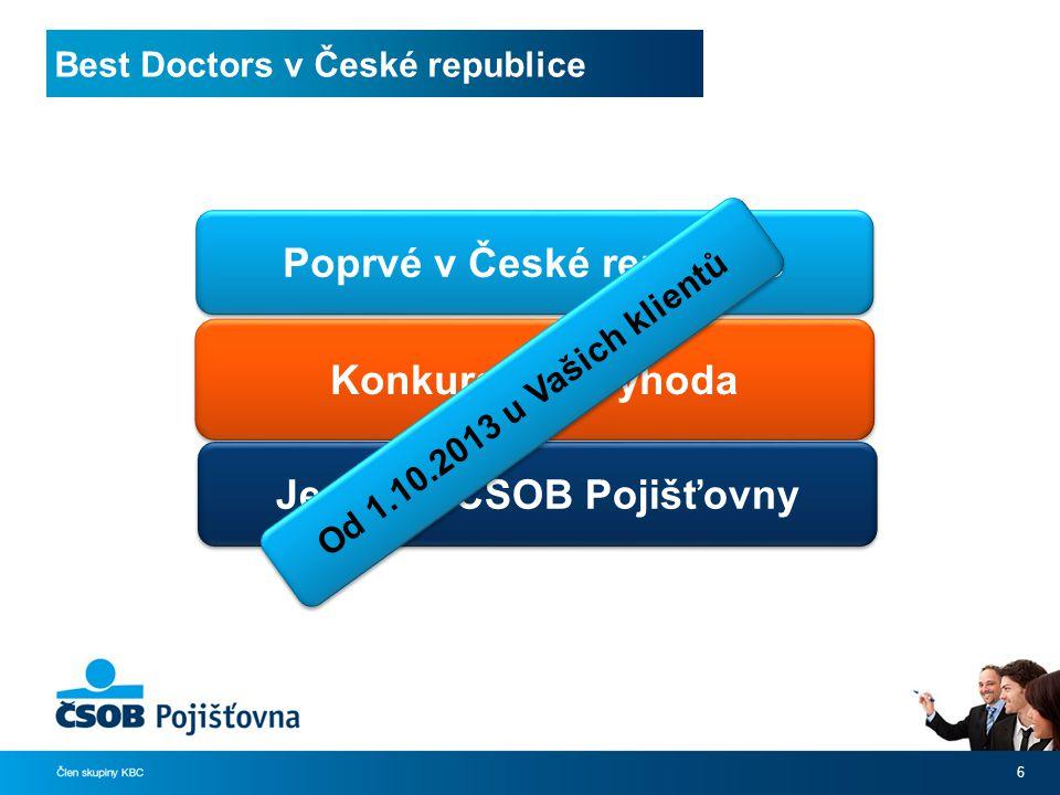 Best Doctors v České republice 6 Konkurenční výhoda Poprvé v České republice Jedině u ČSOB Pojišťovny Od 1.10.2013 u Vašich klientů