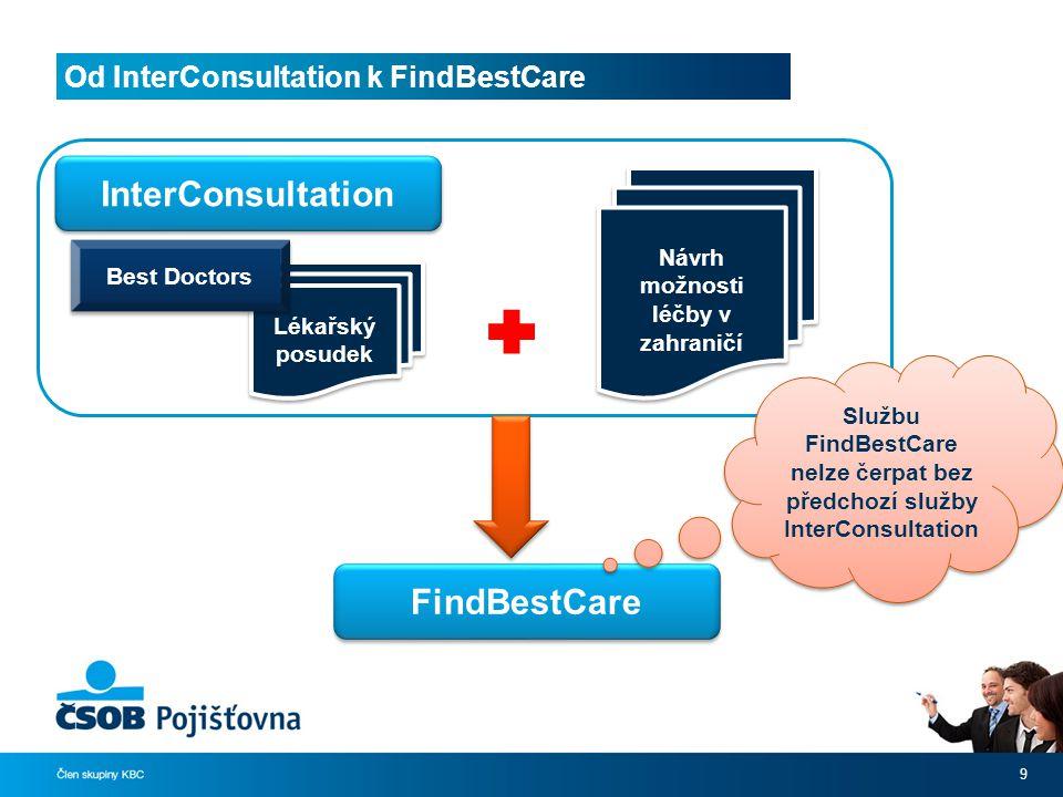 Od InterConsultation k FindBestCare 9 Lékařský posudek Best Doctors InterConsultation Návrh možnosti léčby v zahraničí FindBestCare Službu FindBestCare nelze čerpat bez předchozí služby InterConsultation