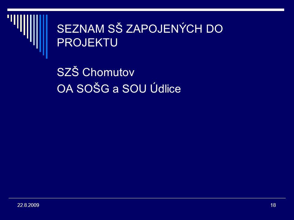 18 22.8.2009 SEZNAM SŠ ZAPOJENÝCH DO PROJEKTU SZŠ Chomutov OA SOŠG a SOU Údlice