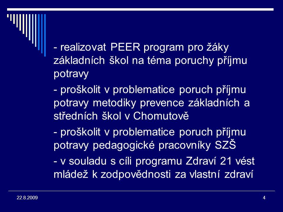 """5 22.8.2009 METODY - komponovaný výukový program o poruchách příjmu potravy pro žáky SZŠ Chomutov - přednáška o zdravé výživě pro žáky ZŠ a SŠ - přednáška o zdravé výživě + PEER Program """"Štíhlá, ale mrtvá o poru- chách příjmu potravy + dotazníko- vé šetření pro žáky ZŠ"""