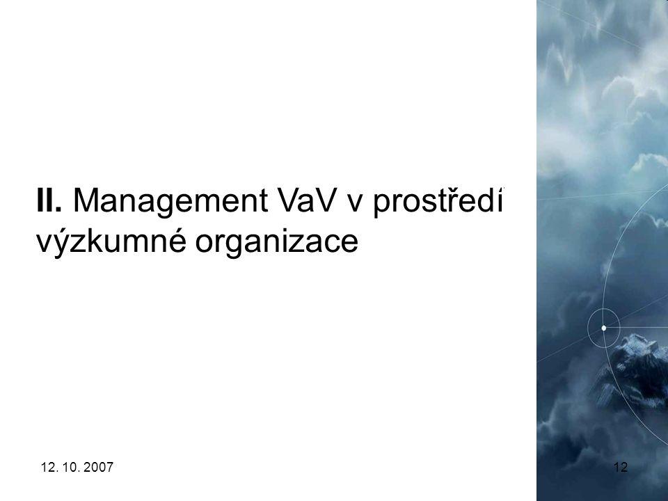 12. 10. 200712 II. Management VaV v prostředí výzkumné organizace