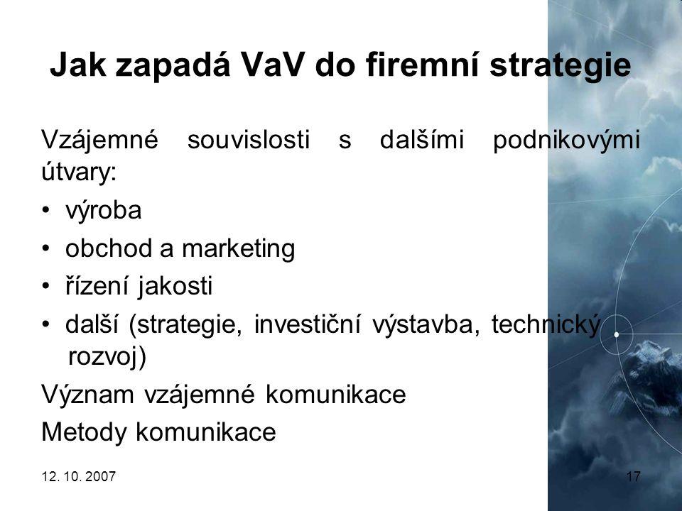 12. 10. 200717 Jak zapadá VaV do firemní strategie Vzájemné souvislosti s dalšími podnikovými útvary: výroba obchod a marketing řízení jakosti další (