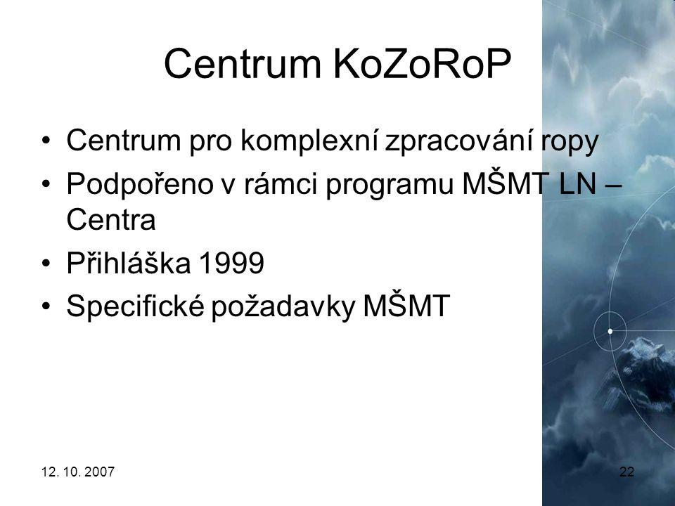 12. 10. 200722 Centrum KoZoRoP Centrum pro komplexní zpracování ropy Podpořeno v rámci programu MŠMT LN – Centra Přihláška 1999 Specifické požadavky M