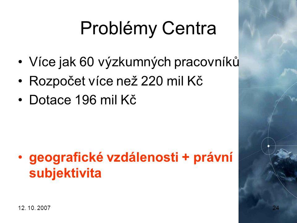12. 10. 200724 Problémy Centra Více jak 60 výzkumných pracovníků Rozpočet více než 220 mil Kč Dotace 196 mil Kč geografické vzdálenosti + právní subje