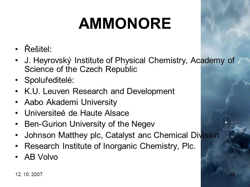 12. 10. 200728 AMMONORE Řešitel: J. Heyrovský Institute of Physical Chemistry, Academy of Science of the Czech Republic Spoluředitelé: K.U. Leuven Res